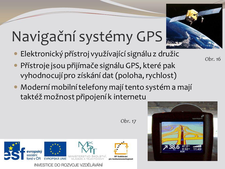 Navigační systémy GPS Elektronický přístroj využívající signálu z družic.