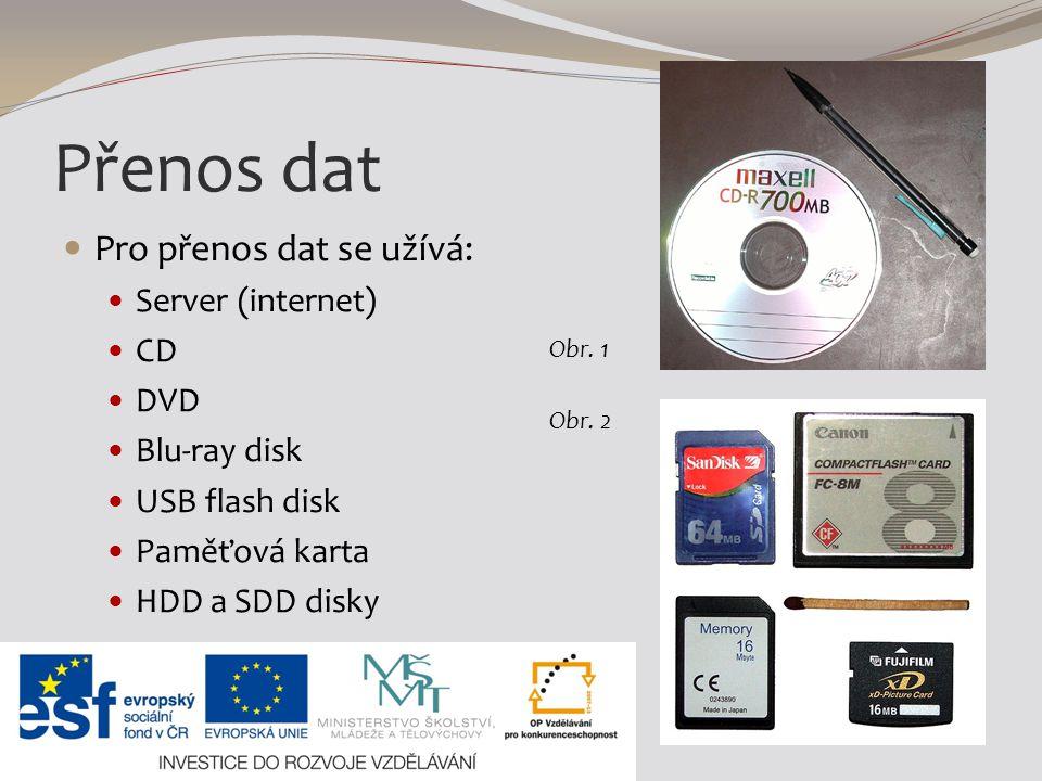 Přenos dat Pro přenos dat se užívá: Server (internet) CD DVD