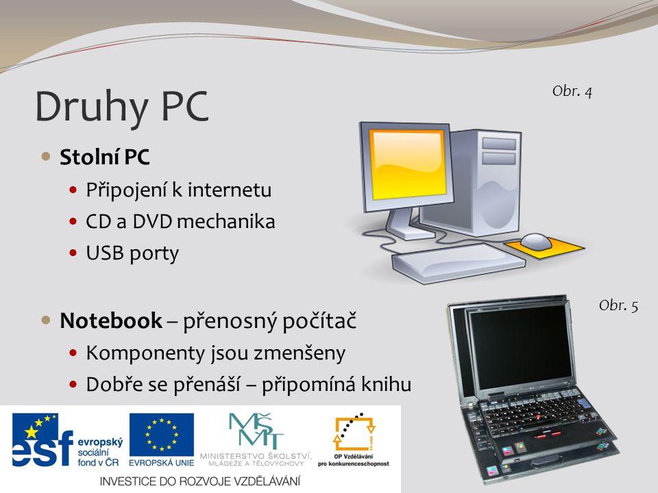Druhy PC Stolní PC Notebook – přenosný počítač Připojení k internetu