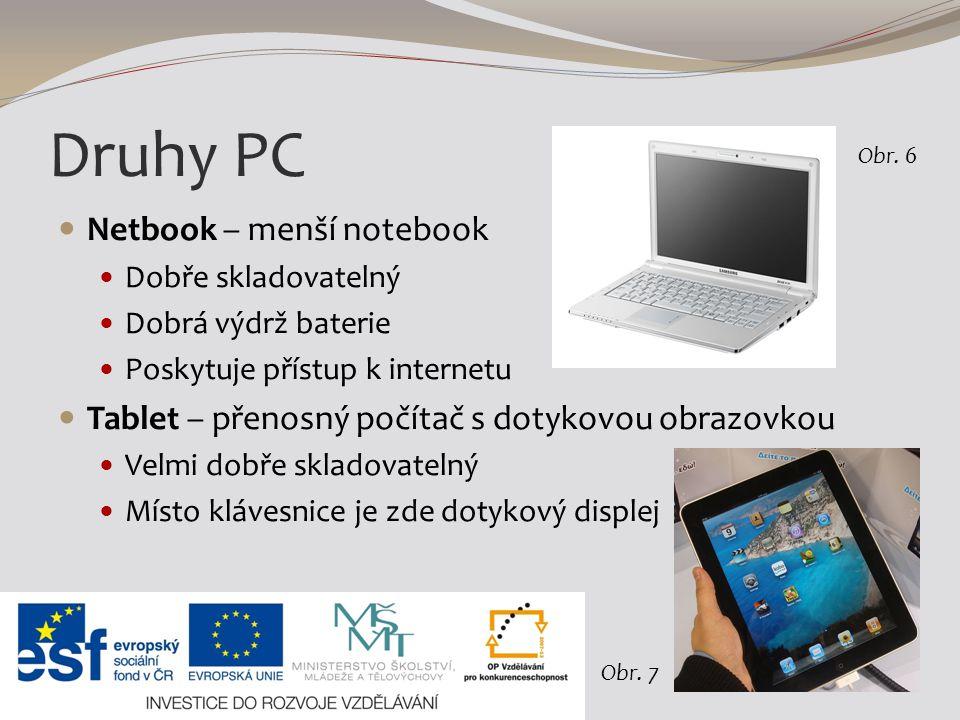 Druhy PC Netbook – menší notebook