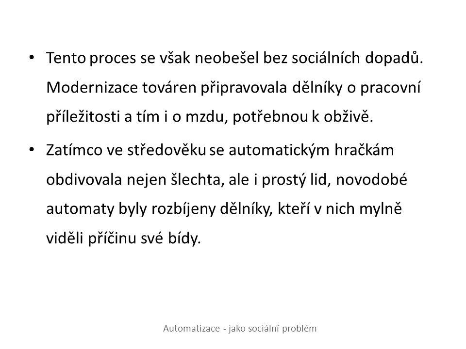 Automatizace - jako sociální problém