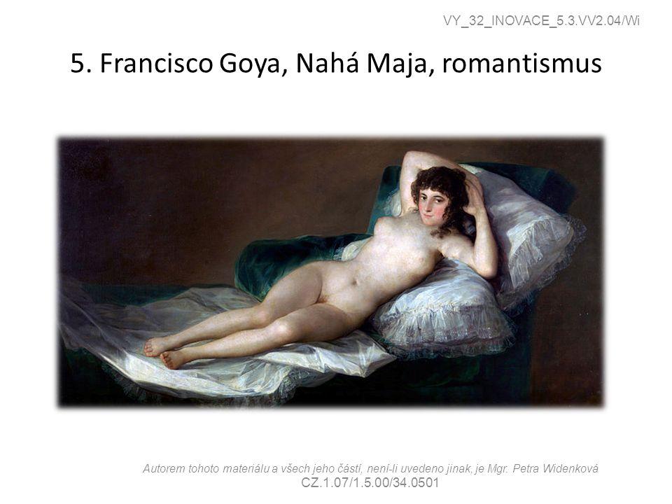 5. Francisco Goya, Nahá Maja, romantismus
