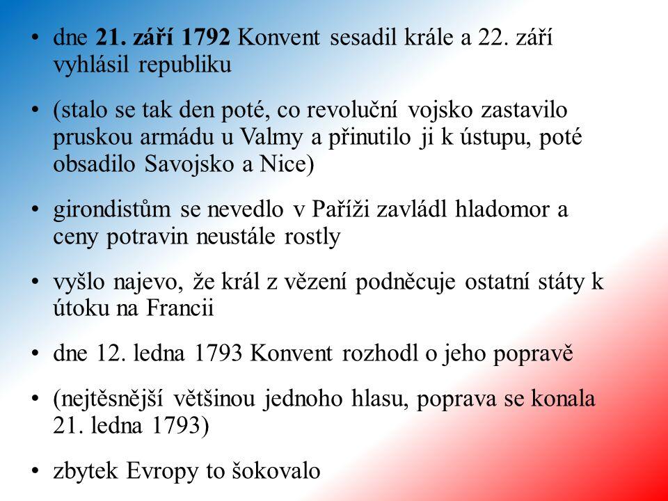 dne 21. září 1792 Konvent sesadil krále a 22. září vyhlásil republiku