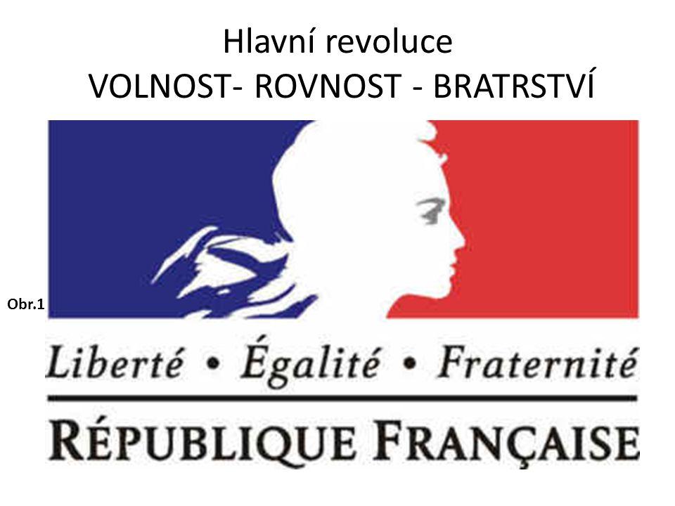 Hlavní revoluce VOLNOST- ROVNOST - BRATRSTVÍ