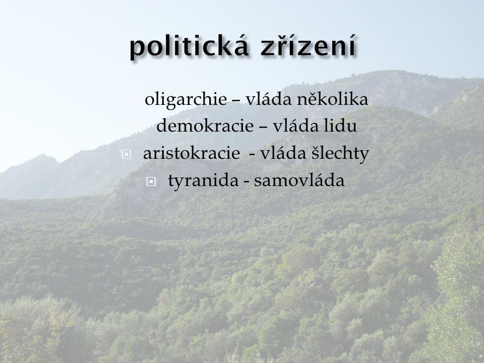 politická zřízení oligarchie – vláda několika demokracie – vláda lidu