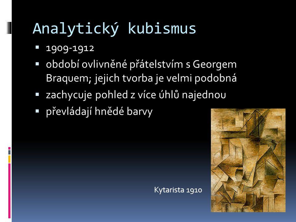 Analytický kubismus 1909-1912. období ovlivněné přátelstvím s Georgem Braquem; jejich tvorba je velmi podobná.