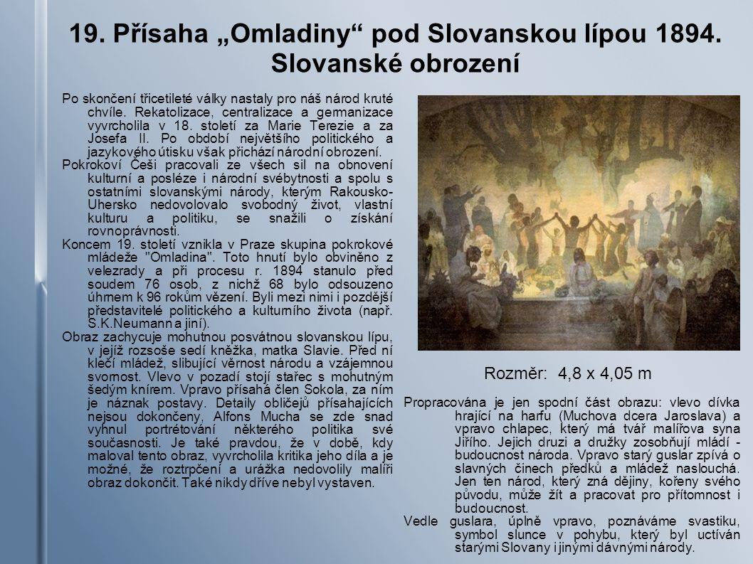 """19. Přísaha """"Omladiny pod Slovanskou lípou 1894. Slovanské obrození"""