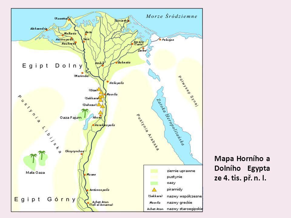 Mapa Horního a Dolního Egypta ze 4. tis. př. n. l.