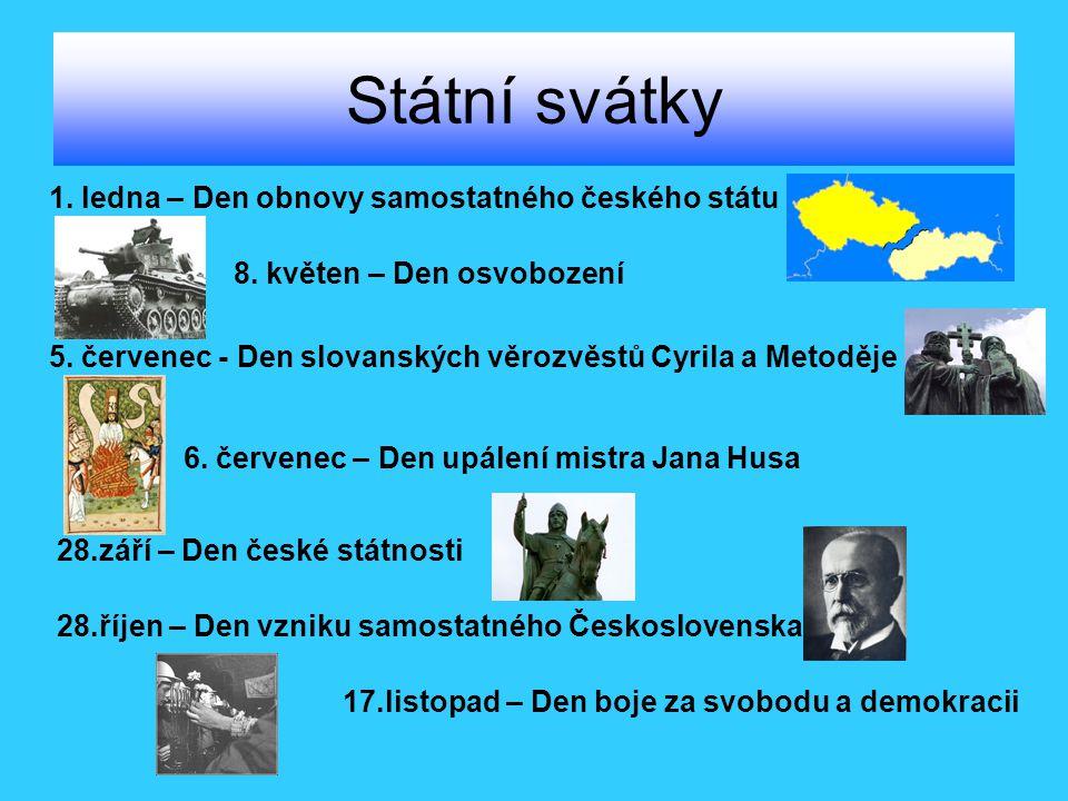 Státní svátky 1. ledna – Den obnovy samostatného českého státu