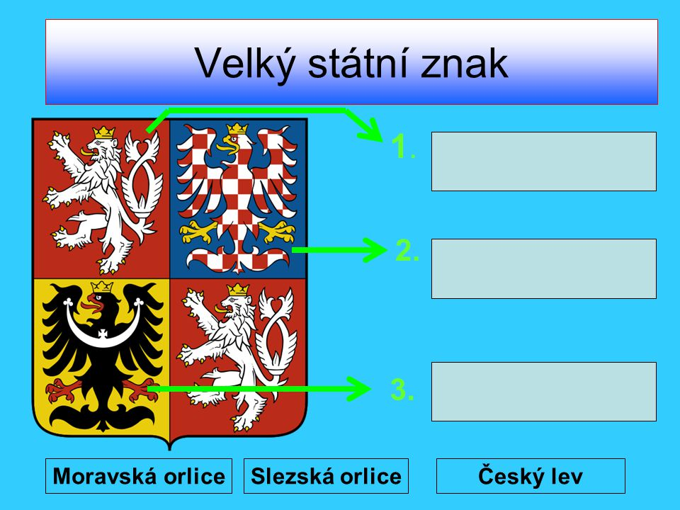 Velký státní znak 1. 2. 3. Moravská orlice Slezská orlice Český lev
