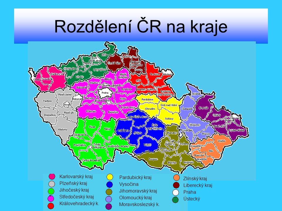 Rozdělení ČR na kraje Karlovarský kraj Pardubický kraj Plzeňský kraj
