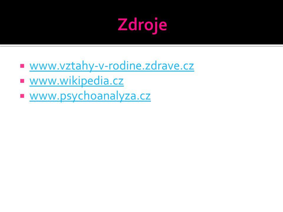 Zdroje www.vztahy-v-rodine.zdrave.cz www.wikipedia.cz