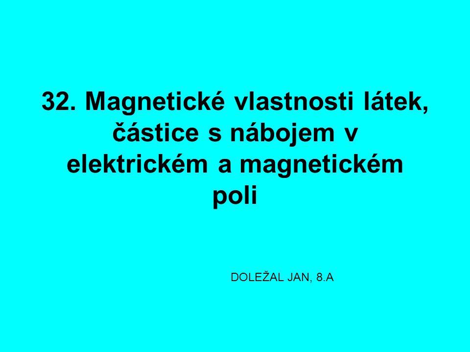 32. Magnetické vlastnosti látek, částice s nábojem v elektrickém a magnetickém poli