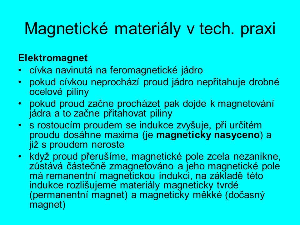 Magnetické materiály v tech. praxi