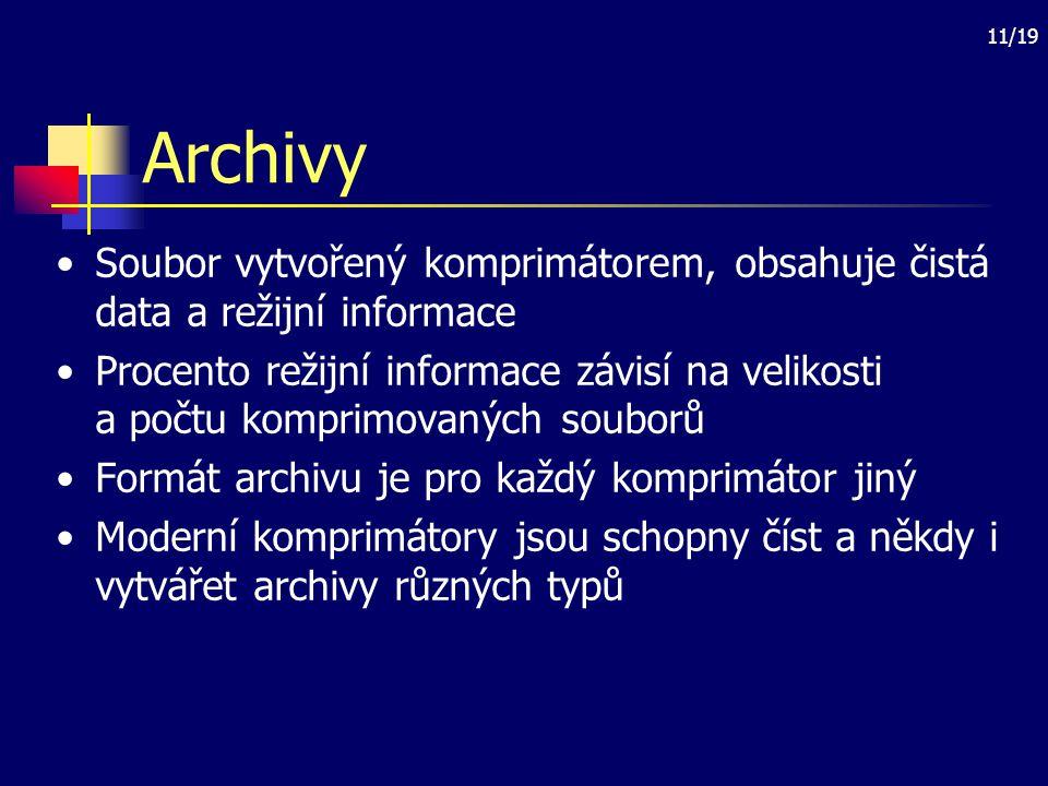 Archivy Soubor vytvořený komprimátorem, obsahuje čistá data a režijní informace.