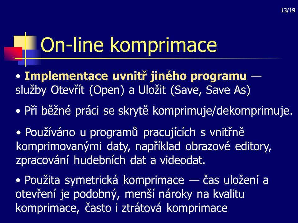 On-line komprimace Implementace uvnitř jiného programu — služby Otevřít (Open) a Uložit (Save, Save As)