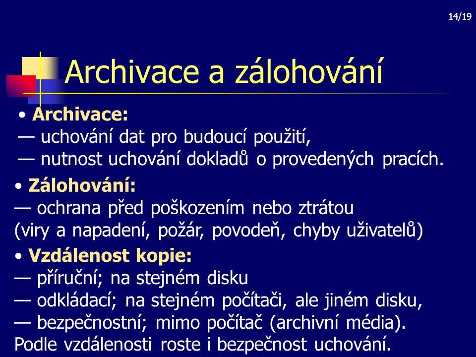 Archivace a zálohování