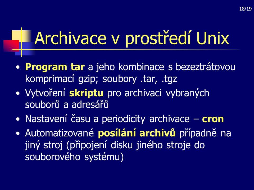 Archivace v prostředí Unix