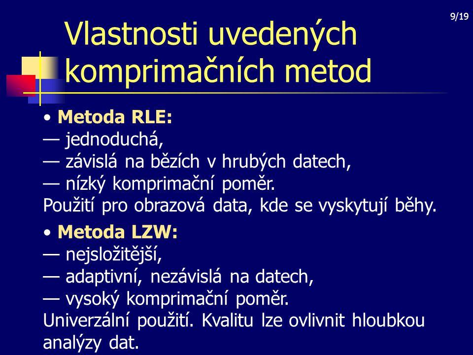 Vlastnosti uvedených komprimačních metod