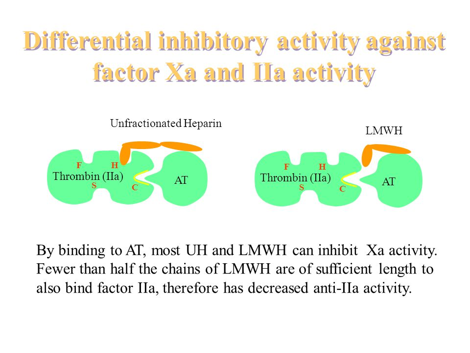 Differential inhibitory activity against factor Xa and IIa activity