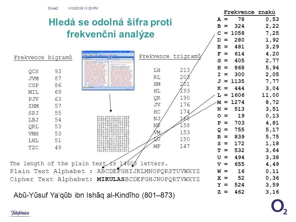 Hledá se odolná šifra proti frekvenční analýze