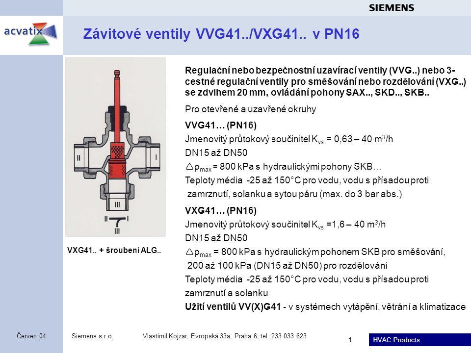 Závitové ventily VVG41../VXG41.. v PN16