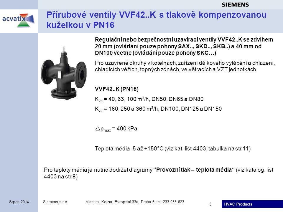 Přírubové ventily VVF42..K s tlakově kompenzovanou kuželkou v PN16