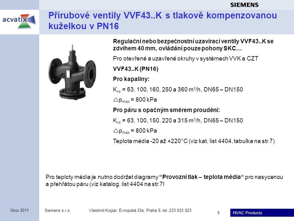 Přírubové ventily VVF43..K s tlakově kompenzovanou kuželkou v PN16