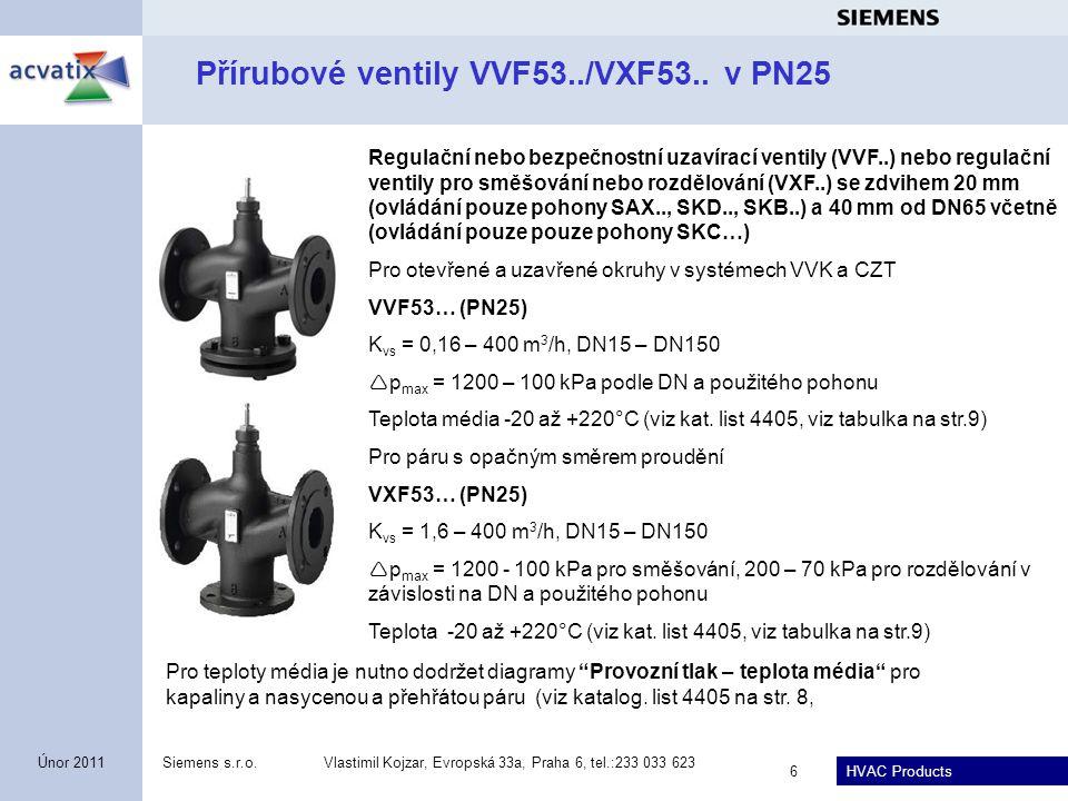 Přírubové ventily VVF53../VXF53.. v PN25