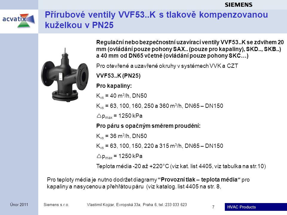 Přírubové ventily VVF53..K s tlakově kompenzovanou kuželkou v PN25