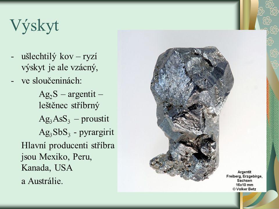 Výskyt ušlechtilý kov – ryzí výskyt je ale vzácný, ve sloučeninách:
