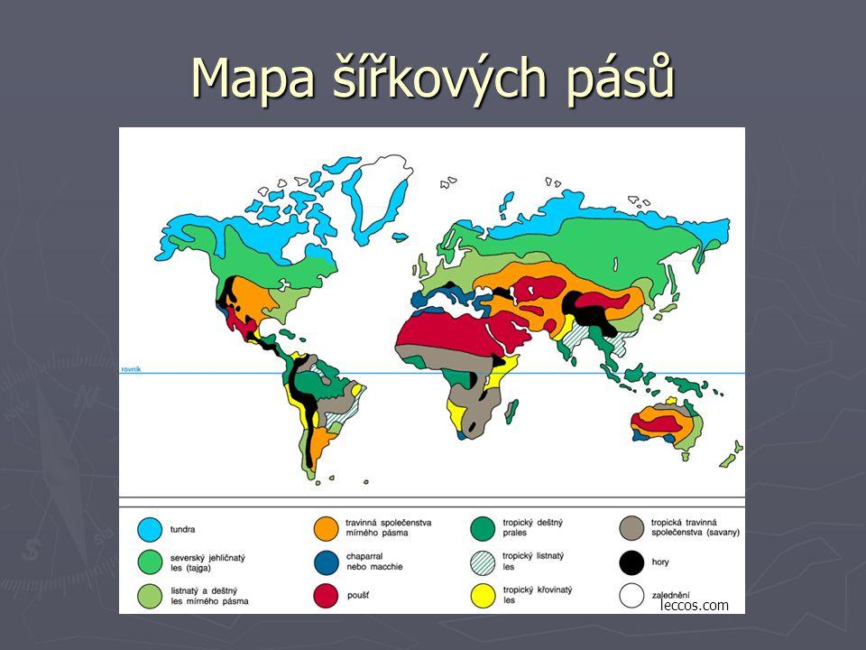 Mapa šířkových pásů leccos.com
