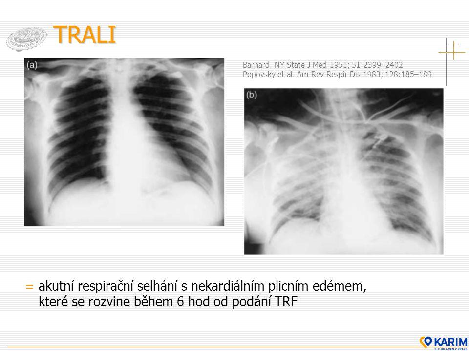 TRALI = akutní respirační selhání s nekardiálním plicním edémem,