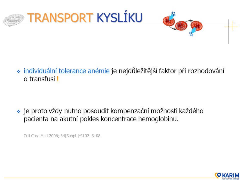 TRANSPORT KYSLÍKU individuální tolerance anémie je nejdůležitější faktor při rozhodování o transfusi !
