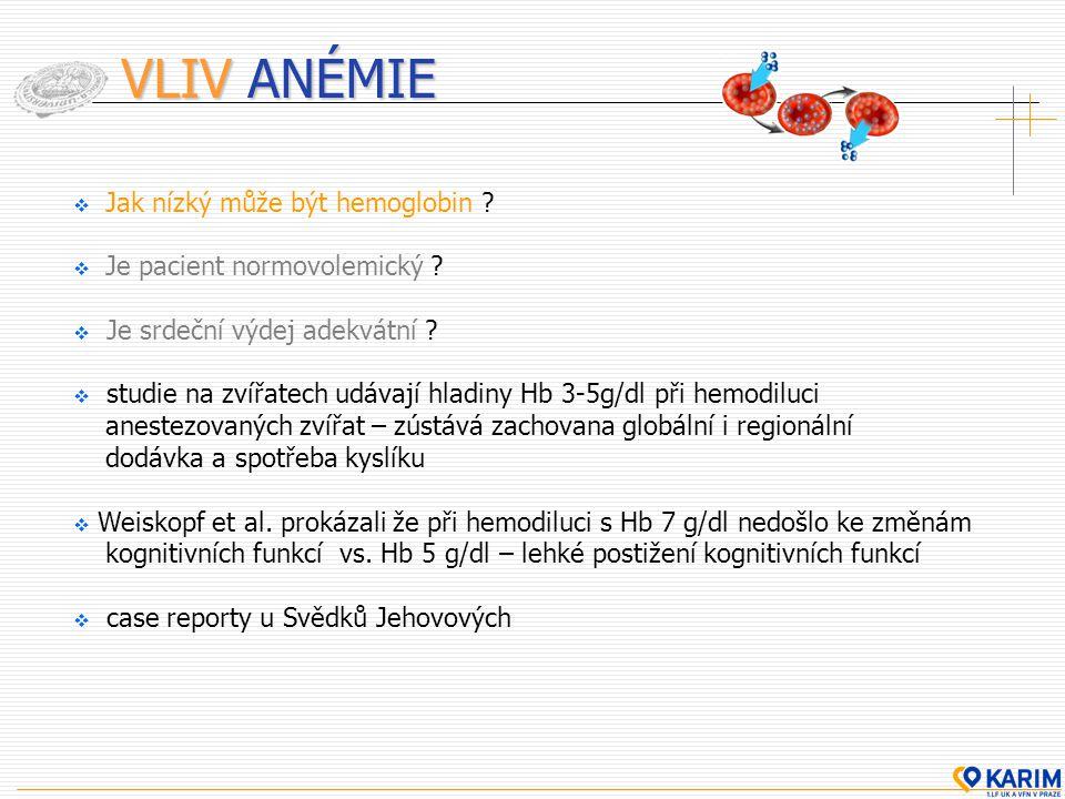 VLIV ANÉMIE Jak nízký může být hemoglobin