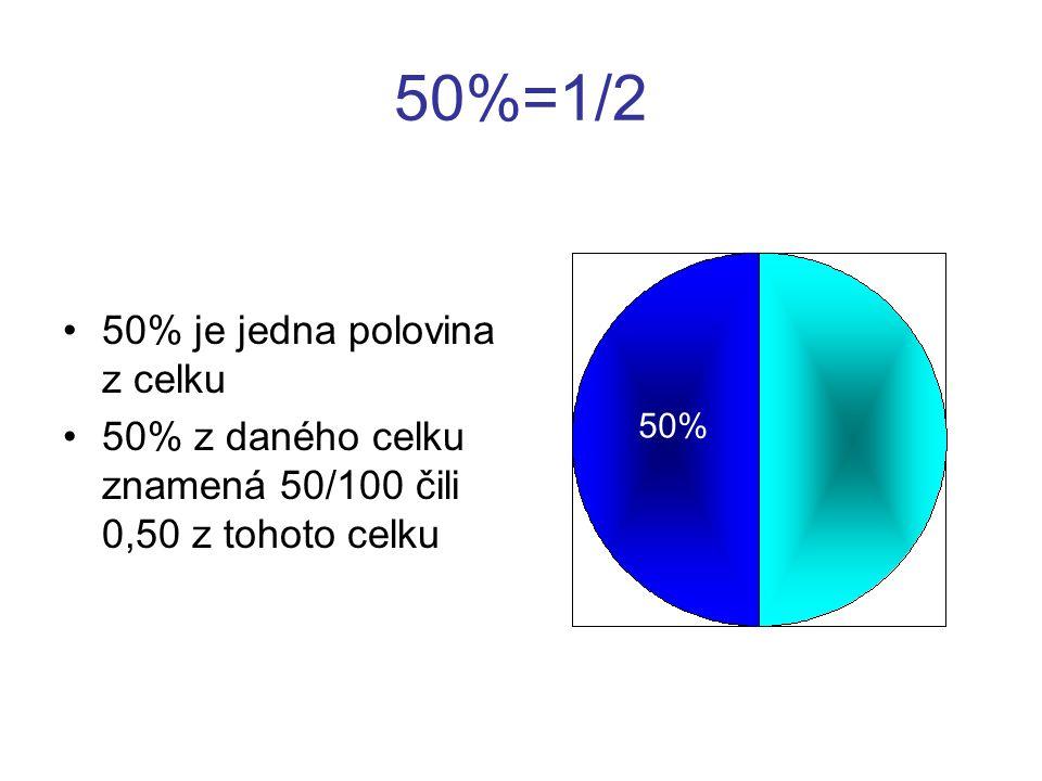 50%=1/2 50% je jedna polovina z celku