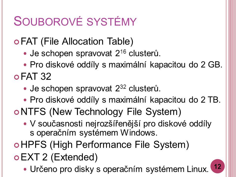 Souborové systémy FAT (File Allocation Table) FAT 32