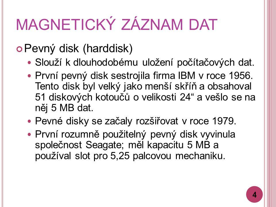 MAGNETICKÝ ZÁZNAM DAT Pevný disk (harddisk)
