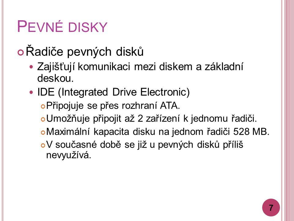 Pevné disky Řadiče pevných disků