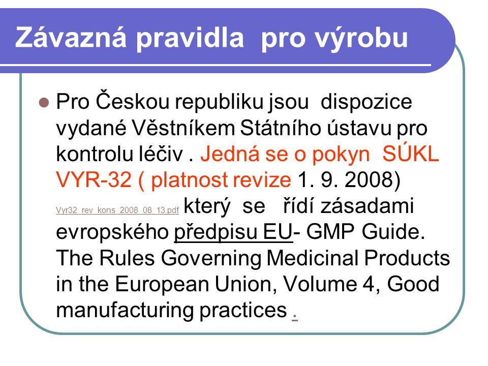 Závazná pravidla pro výrobu