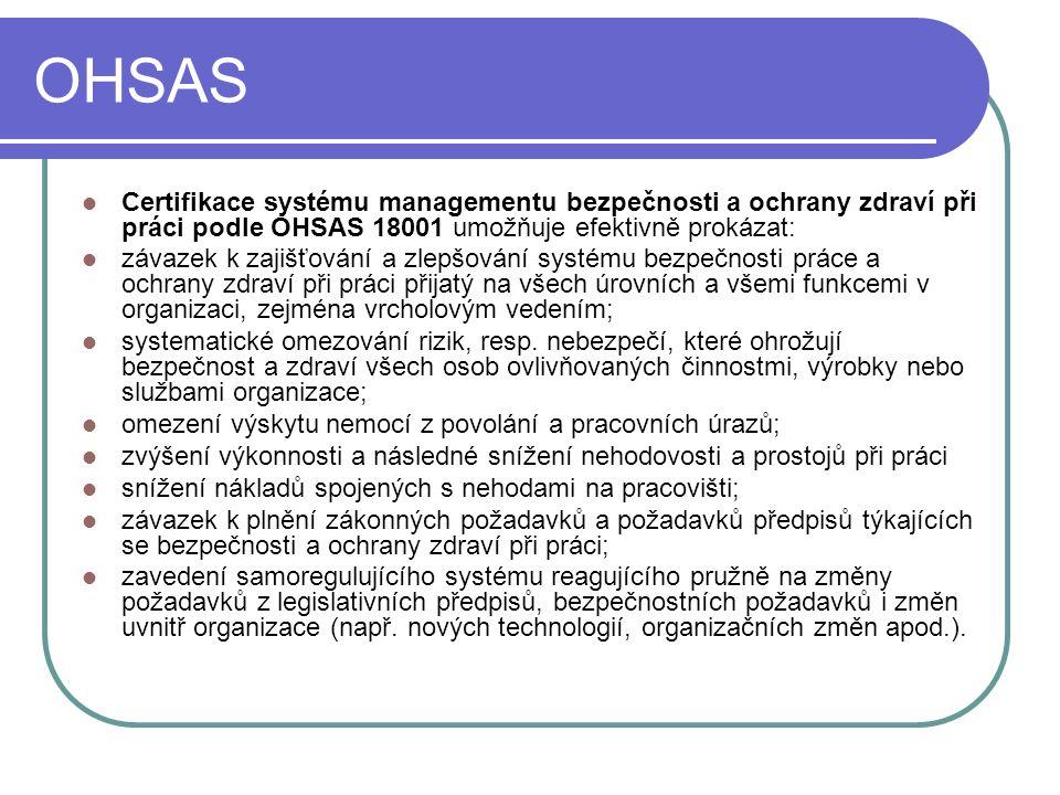 OHSAS Certifikace systému managementu bezpečnosti a ochrany zdraví při práci podle OHSAS 18001 umožňuje efektivně prokázat: