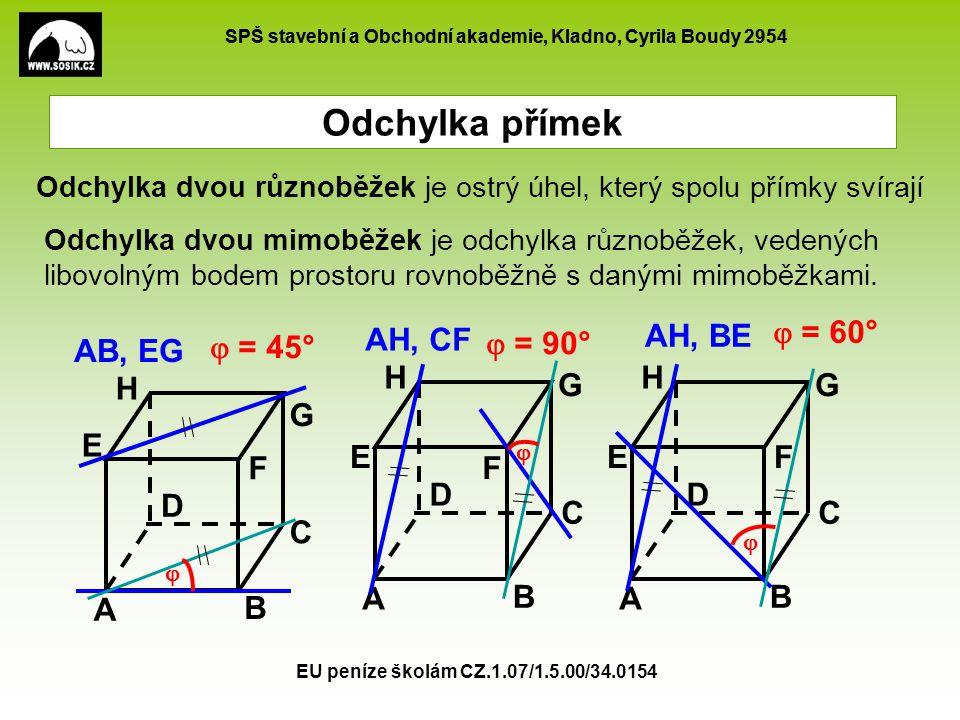 Odchylka přímek AH, CF AH, BE  = 60°  = 90° AB, EG  = 45° H A B C D
