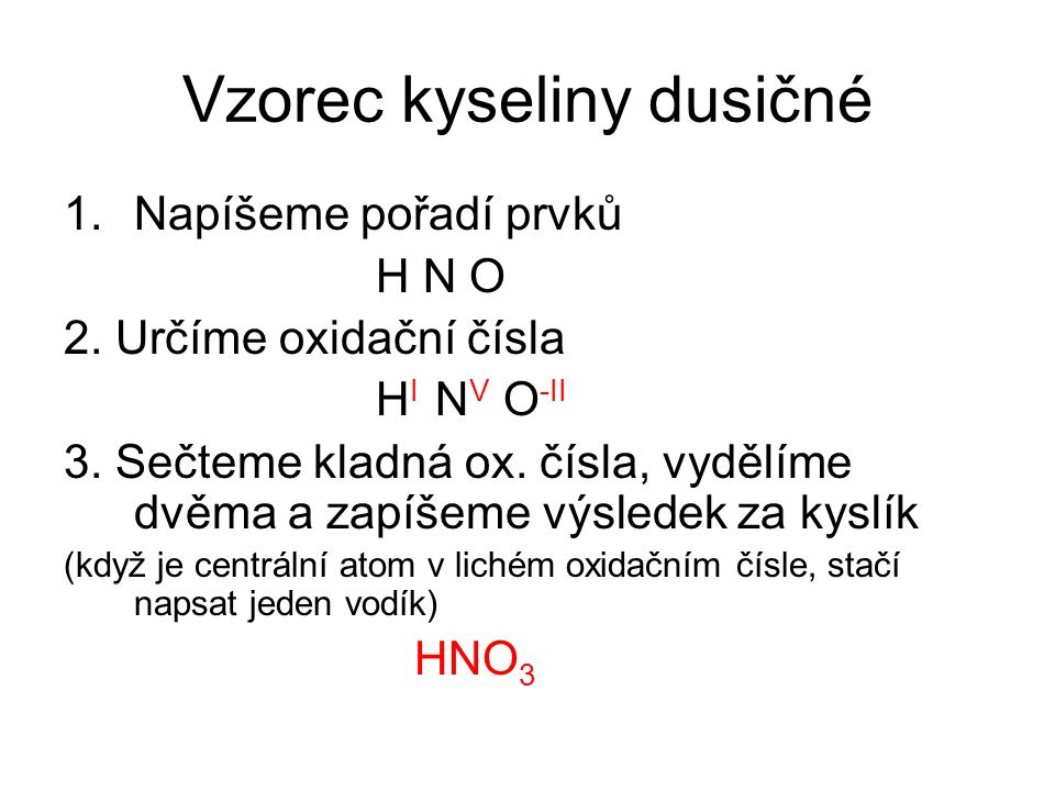 Vzorec kyseliny dusičné