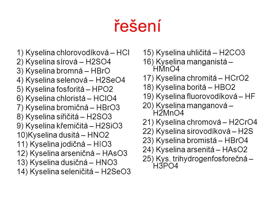 řešení 1) Kyselina chlorovodíková – HCl 2) Kyselina sírová – H2SO4
