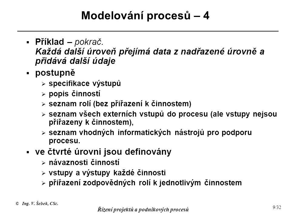 Modelování procesů – 4 Příklad – pokrač. Každá další úroveň přejímá data z nadřazené úrovně a přidává další údaje.