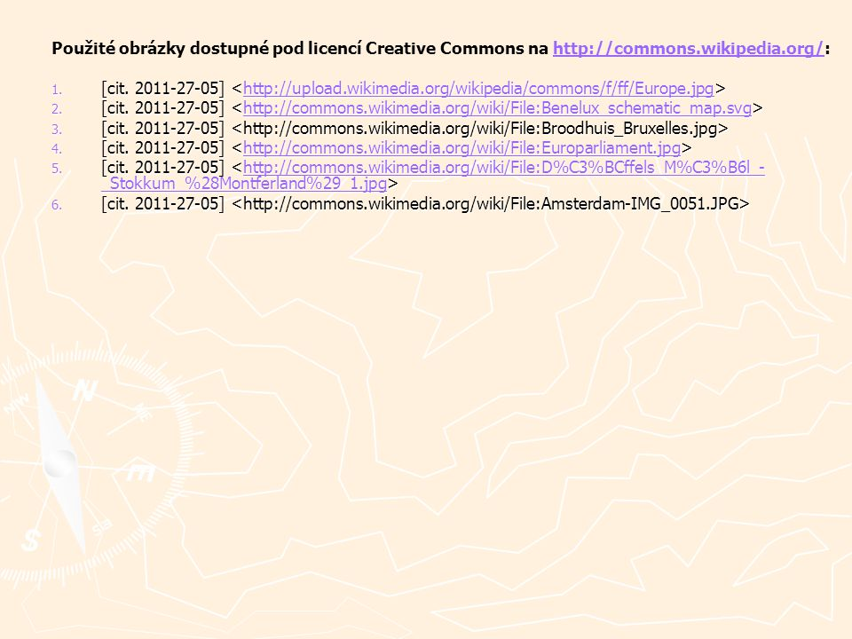 Použité obrázky dostupné pod licencí Creative Commons na http://commons.wikipedia.org/: