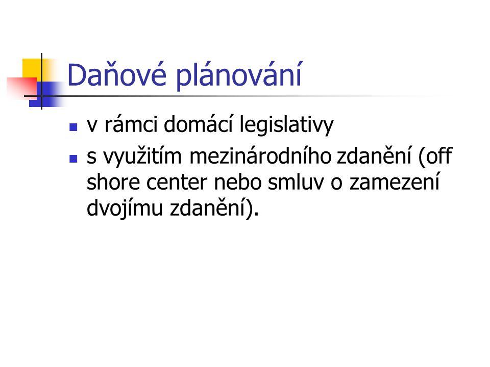 Daňové plánování v rámci domácí legislativy