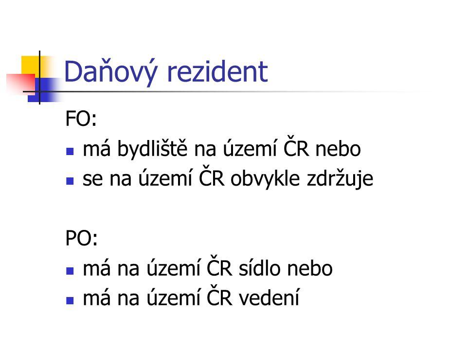 Daňový rezident FO: má bydliště na území ČR nebo