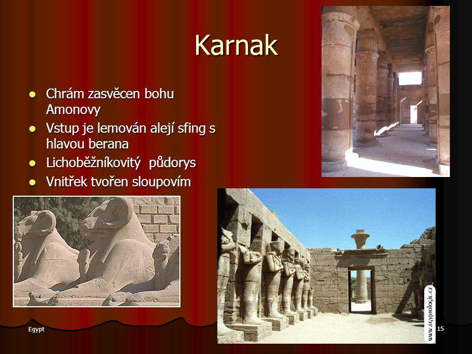 Karnak Chrám zasvěcen bohu Amonovy