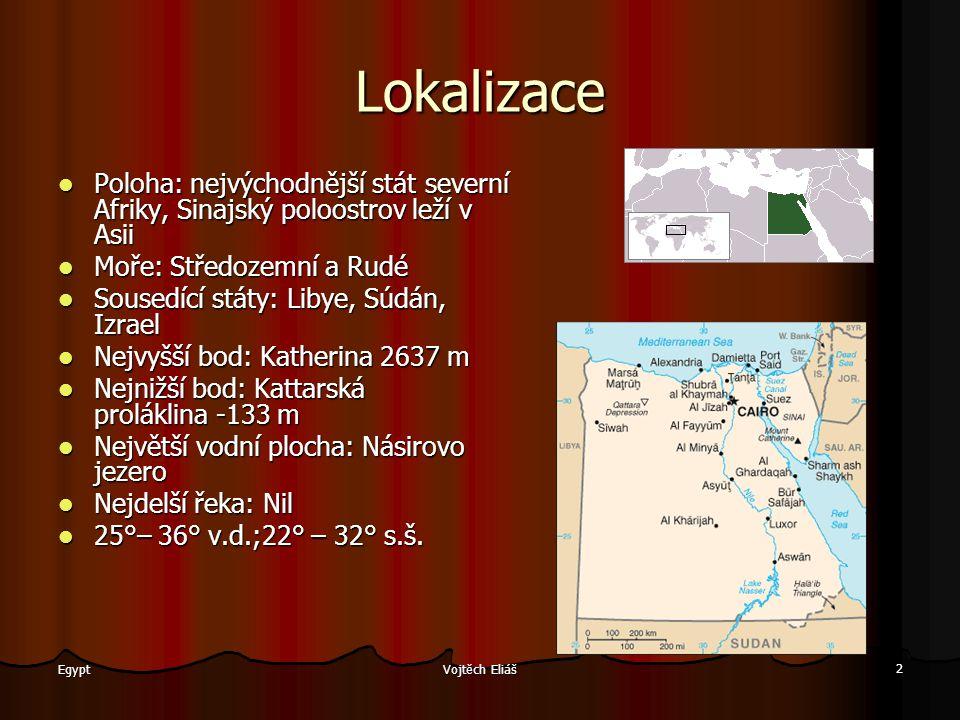 Lokalizace Poloha: nejvýchodnější stát severní Afriky, Sinajský poloostrov leží v Asii. Moře: Středozemní a Rudé.